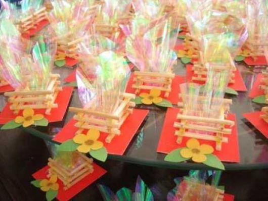 Junina Bonfire party favors with Popsicle stick