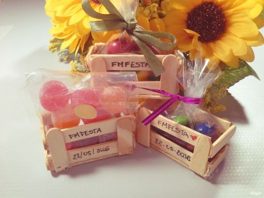 June party favors with a wooden toothpick