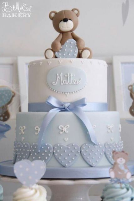 blue cake with teddy