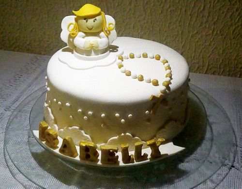 simple cake with rosary