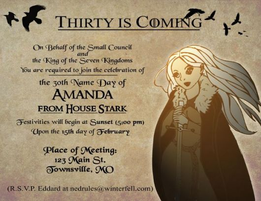 invitations game of thrones