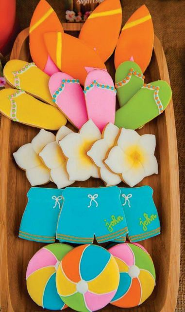 Hawaiian party personalized cookies