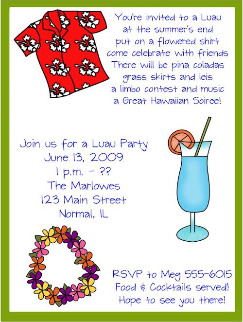 Hawaii invitation template