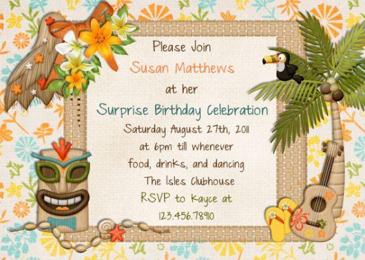 Hawaiian invitation design