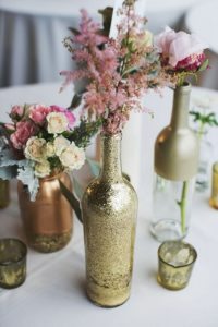 wedding table center with glass bottle