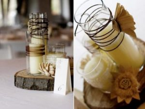 Rustic wedding centerpiece with candles