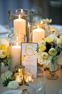 wedding table centerpiece with candles