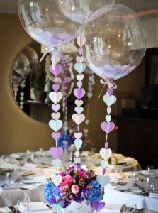 table centerpiece for simple wedding with balloons