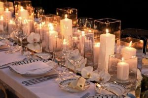 wedding table center with simple candles