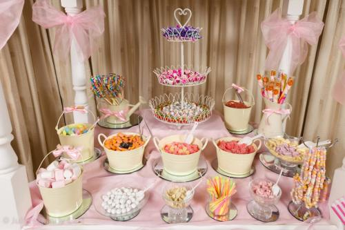 pink christening table for girl