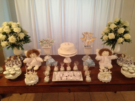 baptism table with angels