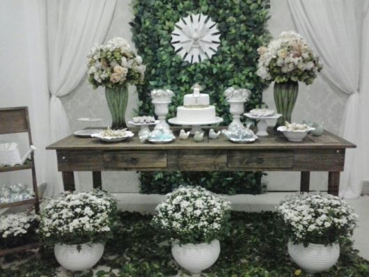 rustic decorated christening table