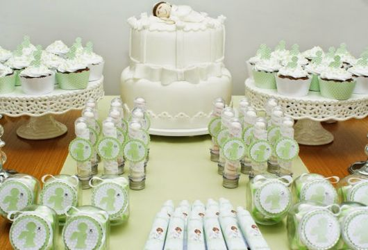 simple green christening table