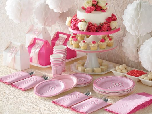 simple christening table for girl