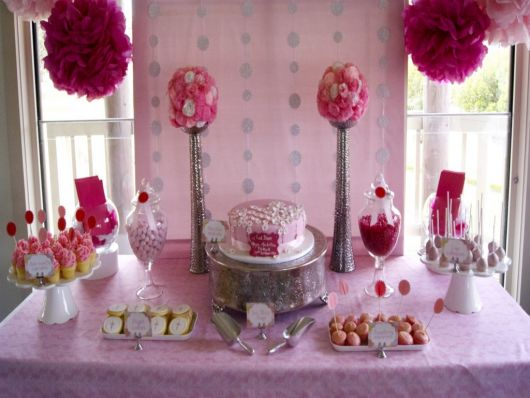 pink and red baptism table