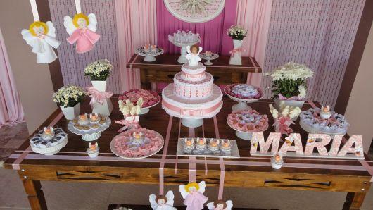 angel christening table for girl