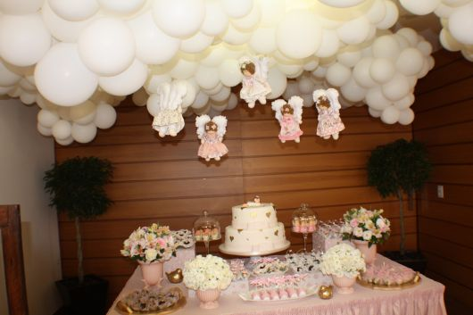 christening table with angels for girls