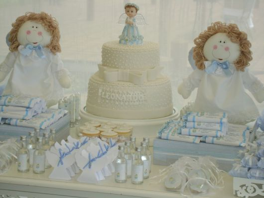 christening table with angels for boys