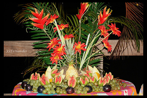 fruit table like it's made for luau