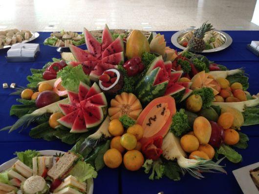 rustic luau fruit table