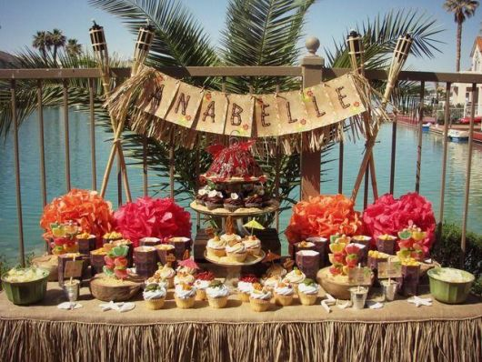 fruit table for tropical party