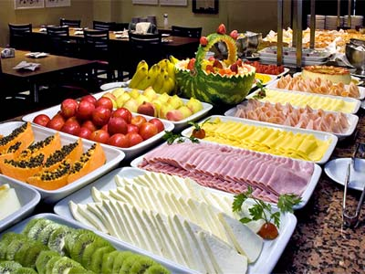 fruit table with cold cuts