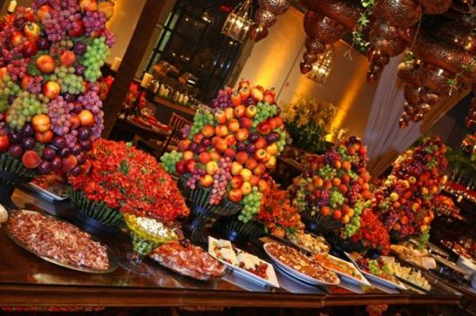 Christmas decorated fruit table